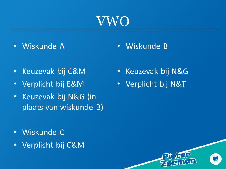 VWO Wiskunde A Keuzevak bij C&M Verplicht bij E&M Keuzevak bij N&G (in plaats van wiskunde B) Wiskunde C Verplicht bij C&M Wiskunde B Keuzevak bij N&G