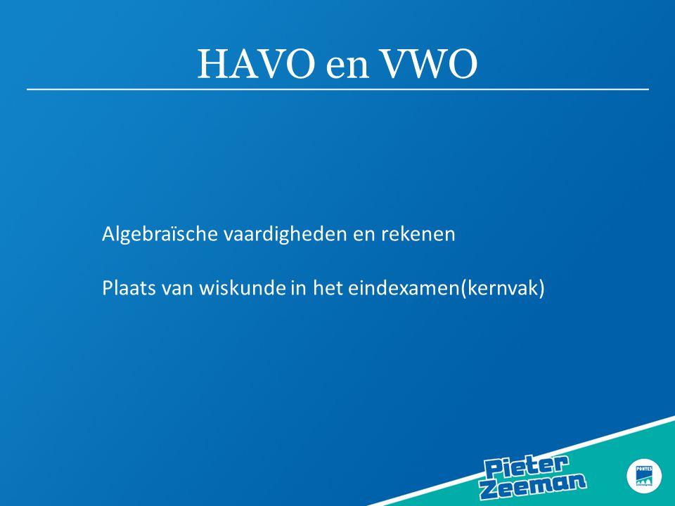 HAVO en VWO Algebraïsche vaardigheden en rekenen Plaats van wiskunde in het eindexamen(kernvak)