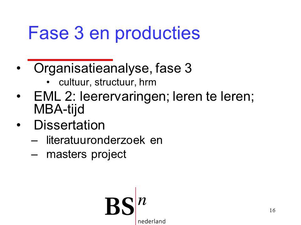 16 Organisatieanalyse, fase 3 cultuur, structuur, hrm EML 2: leerervaringen; leren te leren; MBA-tijd Dissertation –literatuuronderzoek en –masters project Fase 3 en producties