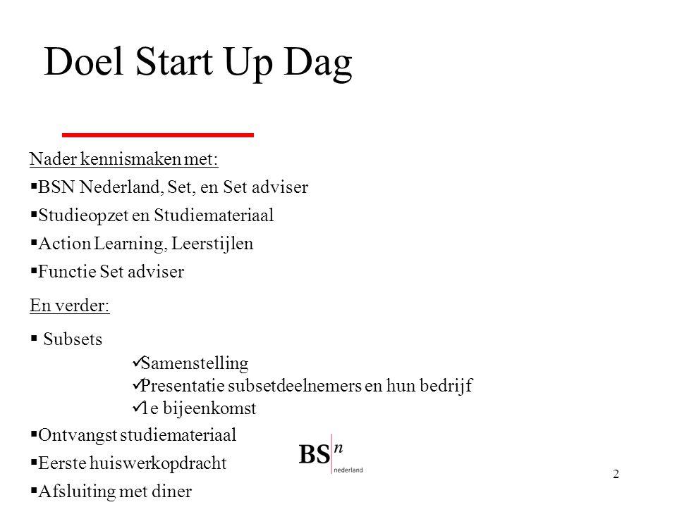 2 Doel Start Up Dag Nader kennismaken met:  BSN Nederland, Set, en Set adviser  Studieopzet en Studiemateriaal  Action Learning, Leerstijlen  Func