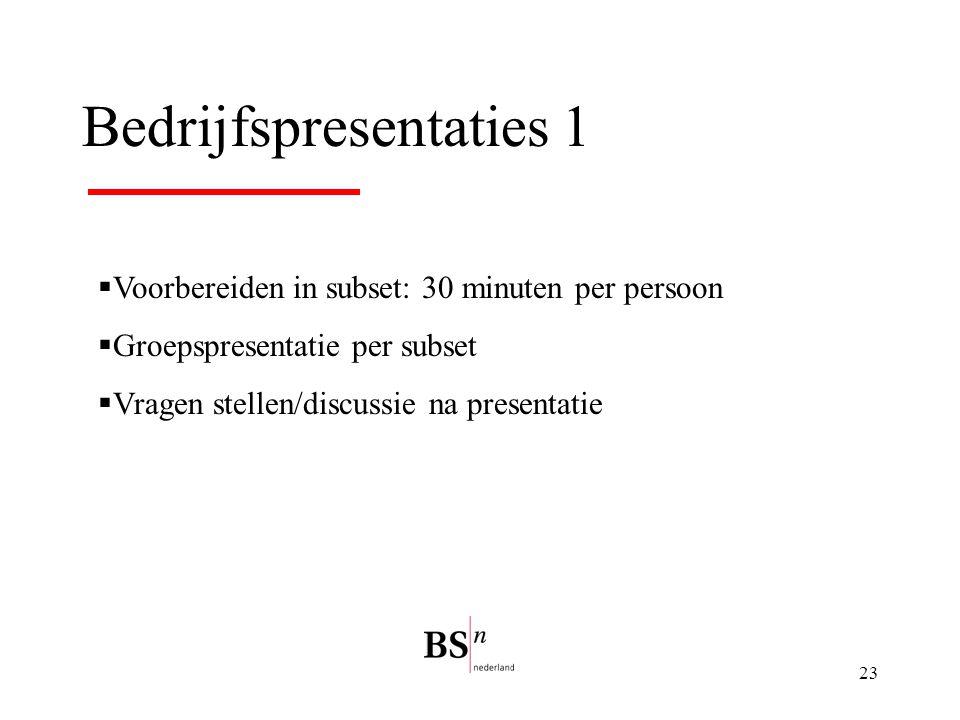 23 Bedrijfspresentaties 1  Voorbereiden in subset: 30 minuten per persoon  Groepspresentatie per subset  Vragen stellen/discussie na presentatie