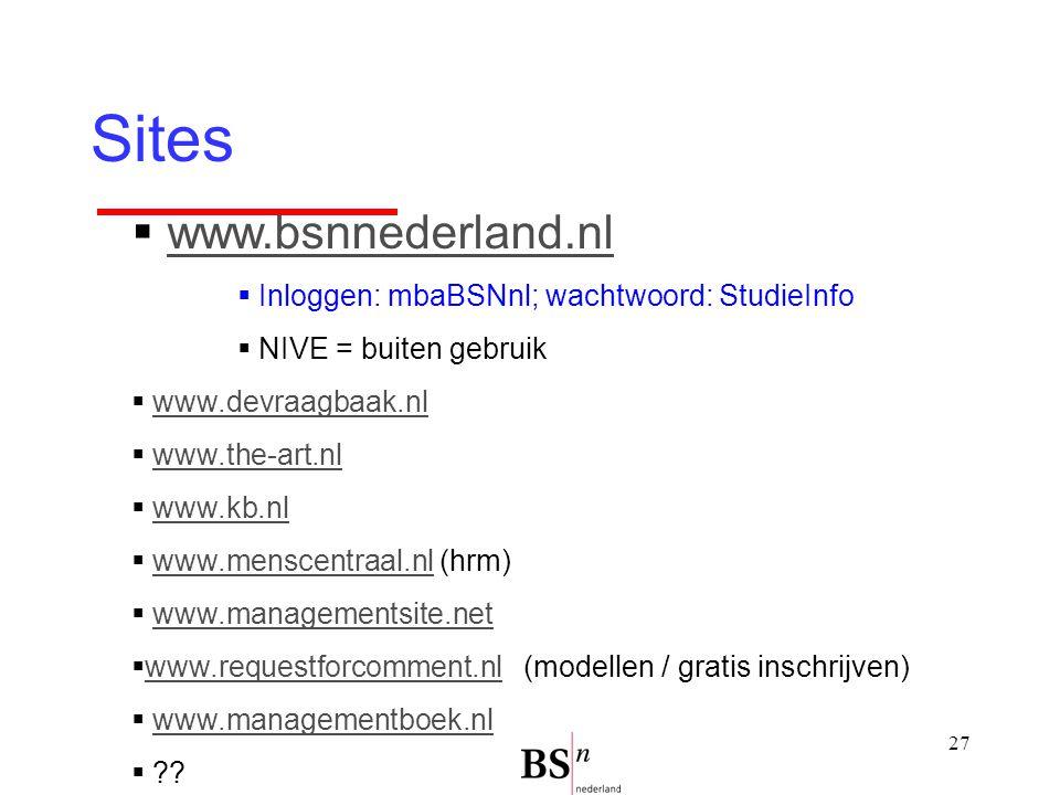 27 Sites  www.bsnnederland.nlwww.bsnnederland.nl  Inloggen: mbaBSNnl; wachtwoord: StudieInfo  NIVE = buiten gebruik  www.devraagbaak.nlwww.devraagbaak.nl  www.the-art.nlwww.the-art.nl  www.kb.nlwww.kb.nl  www.menscentraal.nl (hrm)www.menscentraal.nl  www.managementsite.netwww.managementsite.net  www.requestforcomment.nl (modellen / gratis inschrijven) www.requestforcomment.nl  www.managementboek.nlwww.managementboek.nl  ??