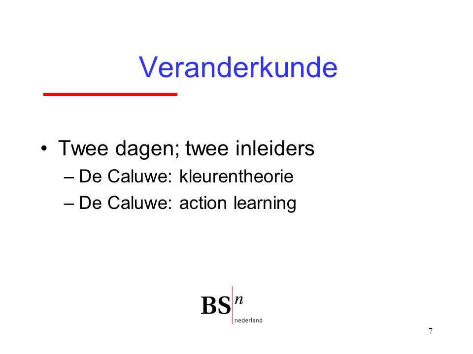 7 Veranderkunde Twee dagen; twee inleiders –De Caluwe: kleurentheorie –De Caluwe: action learning