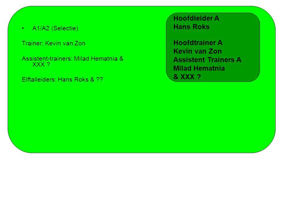 A1/A2 (Selectie) Trainer: Kevin van Zon Assistent-trainers: Milad Hematnia & XXX ? Elftalleiders: Hans Roks & ?? Hoofdleider A Hans Roks Hoofdtrainer