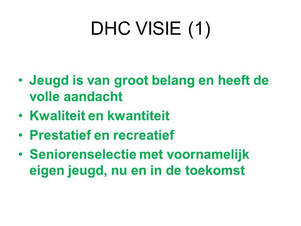 DHC VISIE (1) Jeugd is van groot belang en heeft de volle aandacht Kwaliteit en kwantiteit Prestatief en recreatief Seniorenselectie met voornamelijk