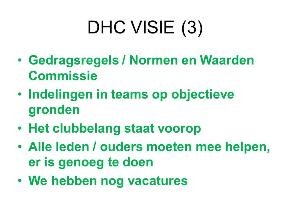 DHC VISIE (3) Gedragsregels / Normen en Waarden Commissie Indelingen in teams op objectieve gronden Het clubbelang staat voorop Alle leden / ouders mo
