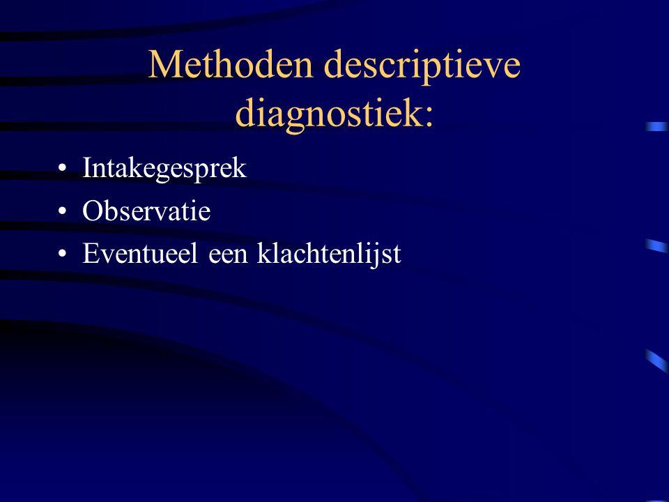 Methoden descriptieve diagnostiek: Intakegesprek Observatie Eventueel een klachtenlijst
