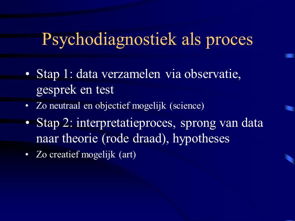 Psychodiagnostiek als proces Stap 1: data verzamelen via observatie, gesprek en test Zo neutraal en objectief mogelijk (science) Stap 2: interpretatie