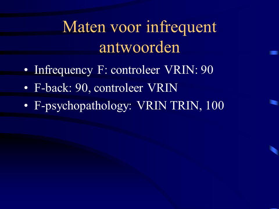 Maten voor infrequent antwoorden Infrequency F: controleer VRIN: 90 F-back: 90, controleer VRIN F-psychopathology: VRIN TRIN, 100