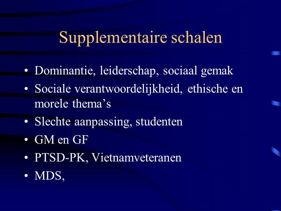 Supplementaire schalen Dominantie, leiderschap, sociaal gemak Sociale verantwoordelijkheid, ethische en morele thema's Slechte aanpassing, studenten G