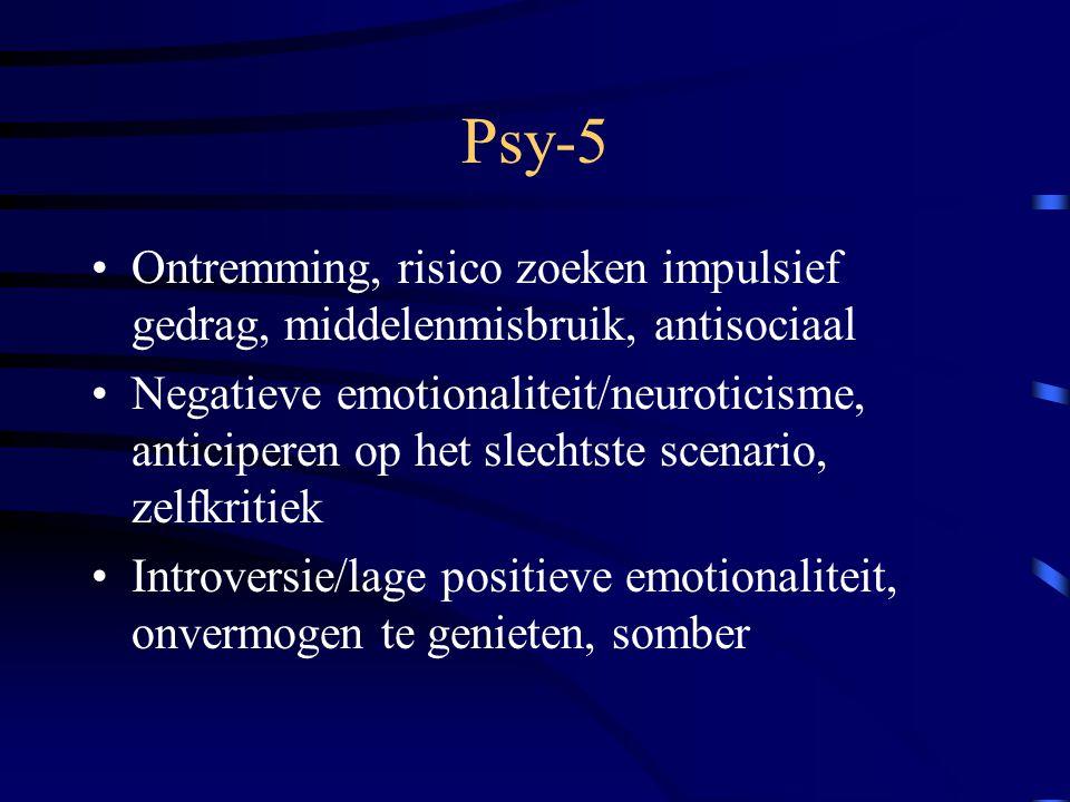 Psy-5 Ontremming, risico zoeken impulsief gedrag, middelenmisbruik, antisociaal Negatieve emotionaliteit/neuroticisme, anticiperen op het slechtste sc