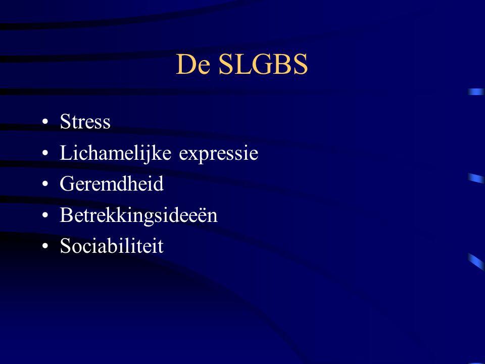 De SLGBS Stress Lichamelijke expressie Geremdheid Betrekkingsideeën Sociabiliteit