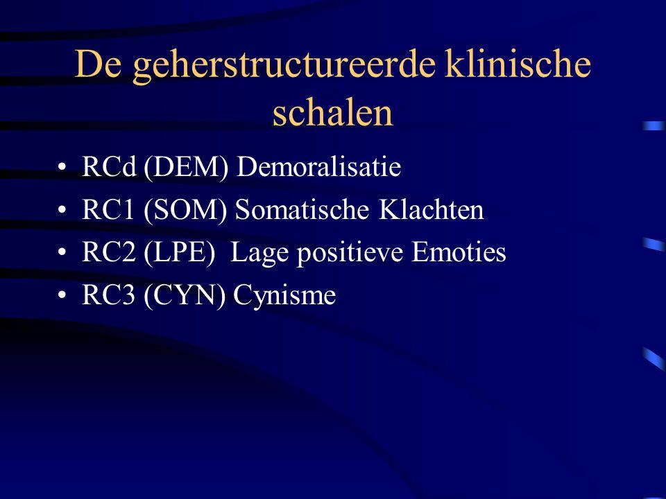 De geherstructureerde klinische schalen RCd (DEM) Demoralisatie RC1 (SOM) Somatische Klachten RC2 (LPE) Lage positieve Emoties RC3 (CYN) Cynisme