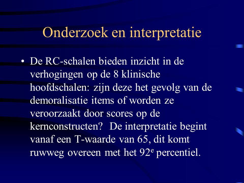 Onderzoek en interpretatie De RC-schalen bieden inzicht in de verhogingen op de 8 klinische hoofdschalen: zijn deze het gevolg van de demoralisatie it