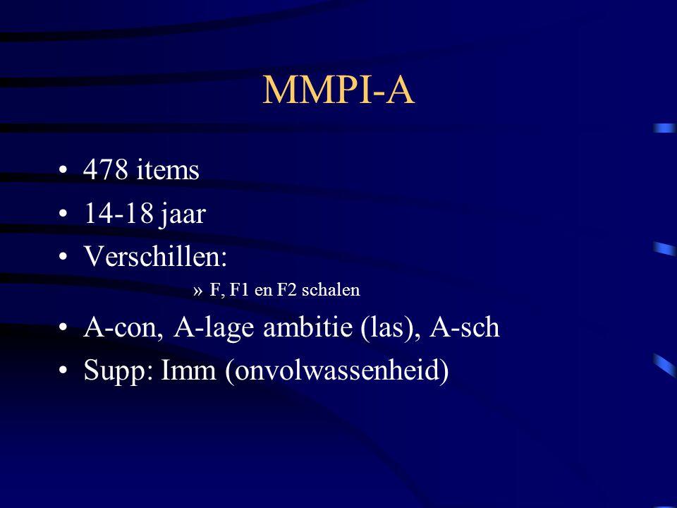 MMPI-A 478 items 14-18 jaar Verschillen: »F, F1 en F2 schalen A-con, A-lage ambitie (las), A-sch Supp: Imm (onvolwassenheid)