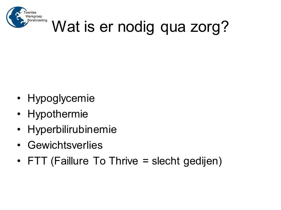 Wat is er nodig qua zorg? Hypoglycemie Hypothermie Hyperbilirubinemie Gewichtsverlies FTT (Faillure To Thrive = slecht gedijen)