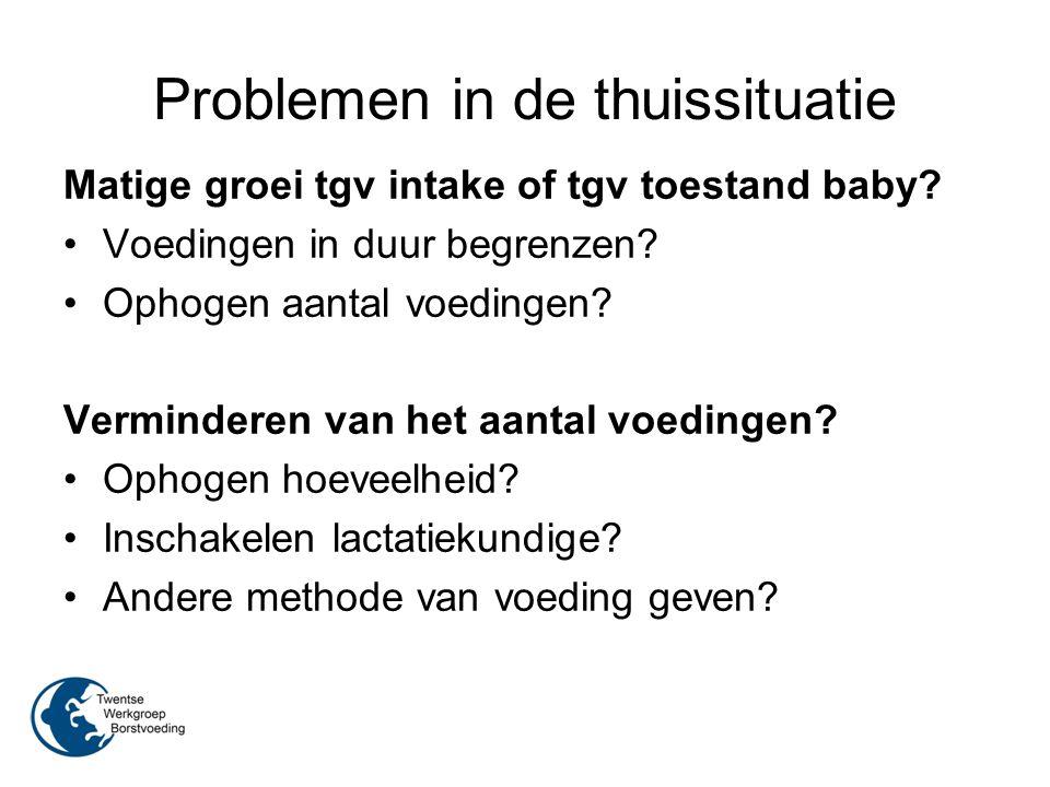Problemen in de thuissituatie Matige groei tgv intake of tgv toestand baby? Voedingen in duur begrenzen? Ophogen aantal voedingen? Verminderen van het