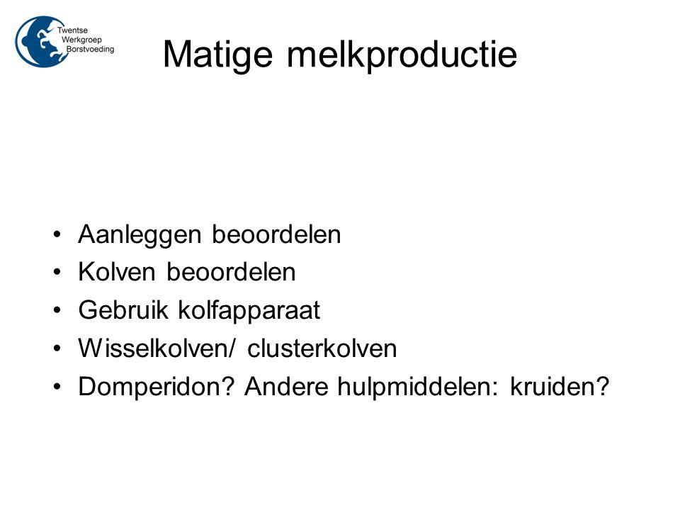 Matige melkproductie Aanleggen beoordelen Kolven beoordelen Gebruik kolfapparaat Wisselkolven/ clusterkolven Domperidon? Andere hulpmiddelen: kruiden?
