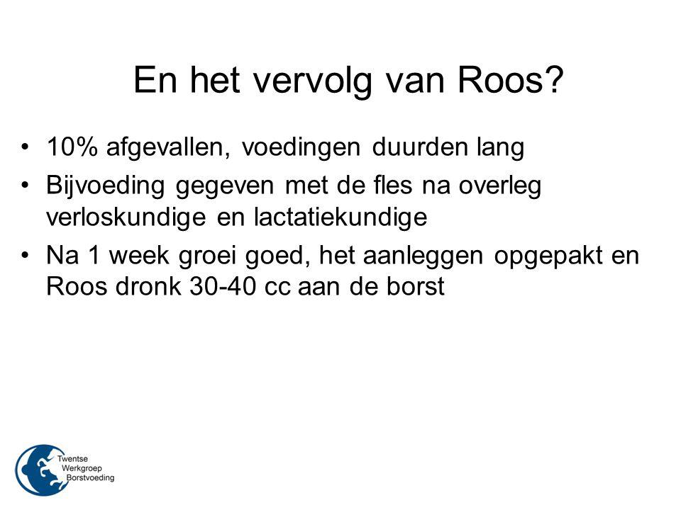 En het vervolg van Roos? 10% afgevallen, voedingen duurden lang Bijvoeding gegeven met de fles na overleg verloskundige en lactatiekundige Na 1 week g