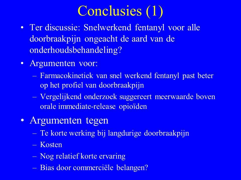 Conclusies (1) Ter discussie: Snelwerkend fentanyl voor alle doorbraakpijn ongeacht de aard van de onderhoudsbehandeling.