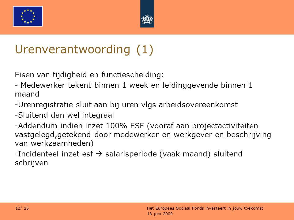 18 juni 2009 Het Europees Sociaal Fonds investeert in jouw toekomst 12/ 25 Urenverantwoording (1) Eisen van tijdigheid en functiescheiding: - Medewerk