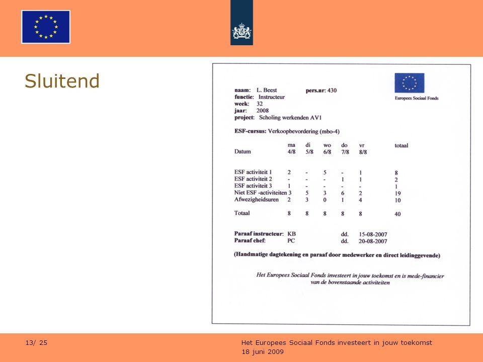 18 juni 2009 Het Europees Sociaal Fonds investeert in jouw toekomst 13/ 25 Sluitend