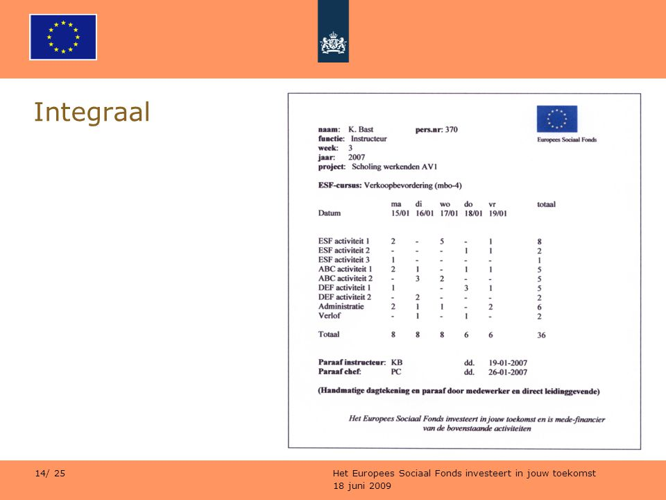 18 juni 2009 Het Europees Sociaal Fonds investeert in jouw toekomst 14/ 25 Integraal