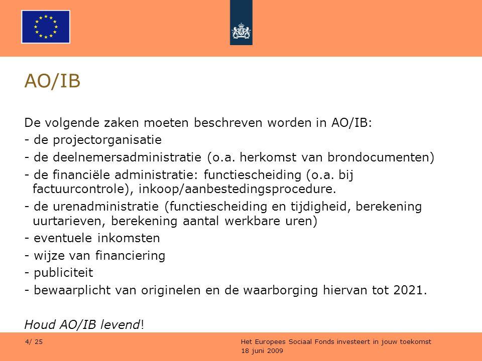 18 juni 2009 Het Europees Sociaal Fonds investeert in jouw toekomst 4/ 25 AO/IB De volgende zaken moeten beschreven worden in AO/IB: - de projectorgan