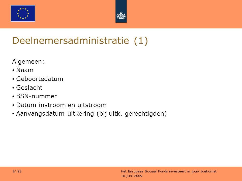 18 juni 2009 Het Europees Sociaal Fonds investeert in jouw toekomst 5/ 25 Deelnemersadministratie (1) Algemeen: Naam Geboortedatum Geslacht BSN-nummer