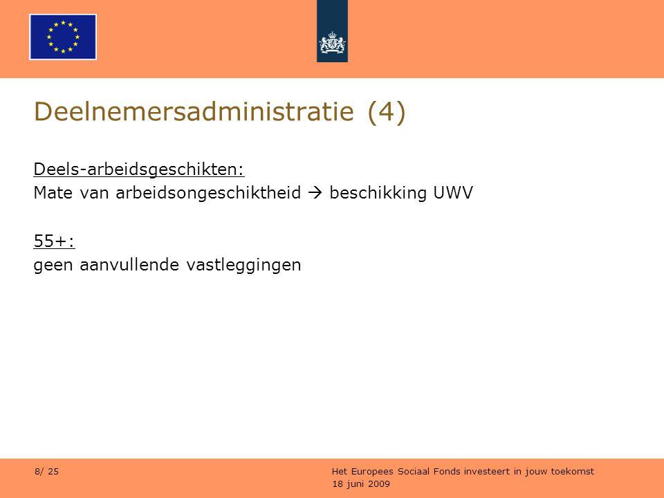 18 juni 2009 Het Europees Sociaal Fonds investeert in jouw toekomst 8/ 25 Deelnemersadministratie (4) Deels-arbeidsgeschikten: Mate van arbeidsongesch