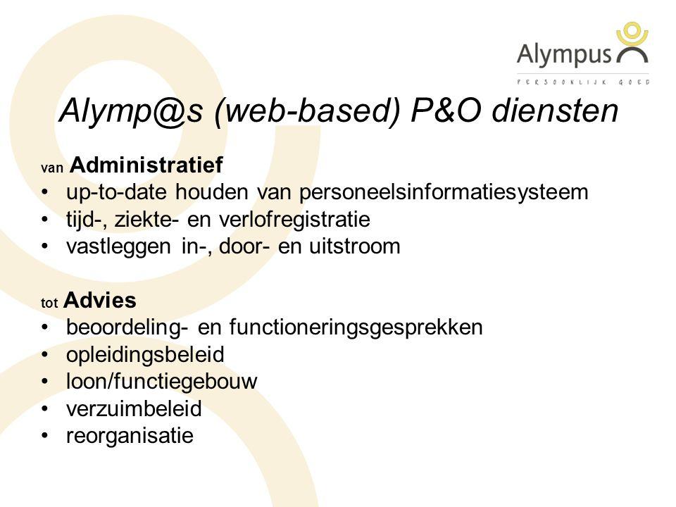 Alymp@s (web-based) P&O diensten van Administratief up-to-date houden van personeelsinformatiesysteem tijd-, ziekte- en verlofregistratie vastleggen i