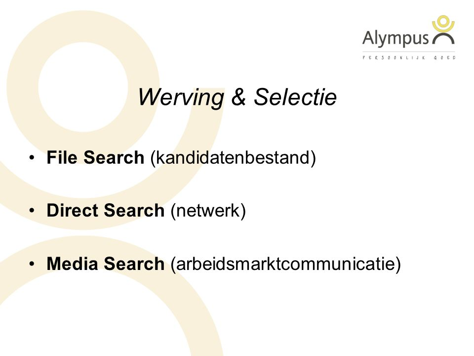 Werving & Selectie File Search (kandidatenbestand) Direct Search (netwerk) Media Search (arbeidsmarktcommunicatie)