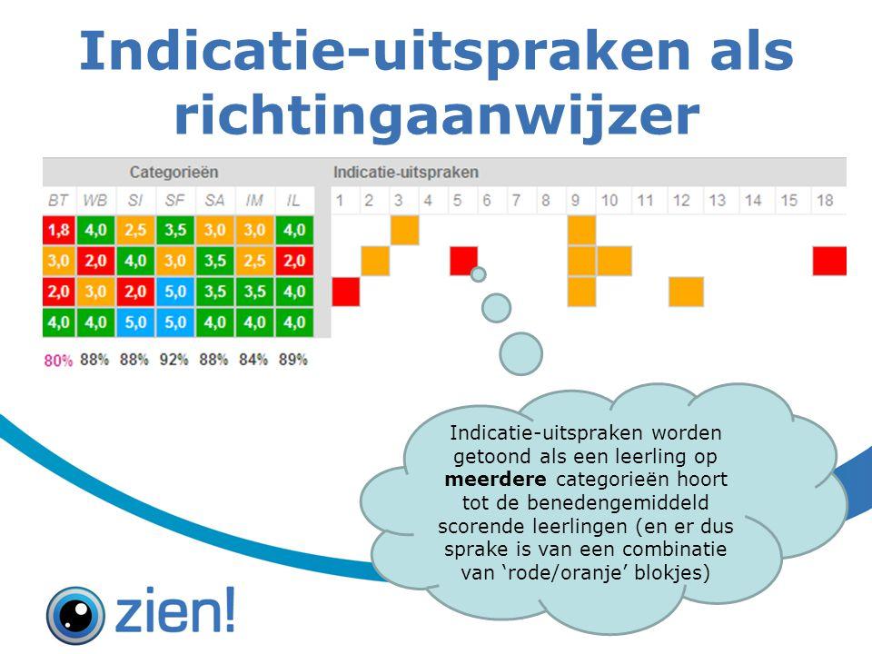 Indicatie-uitspraken als richtingaanwijzer Indicatie-uitspraken worden getoond als een leerling op meerdere categorieën hoort tot de benedengemiddeld scorende leerlingen (en er dus sprake is van een combinatie van 'rode/oranje' blokjes)