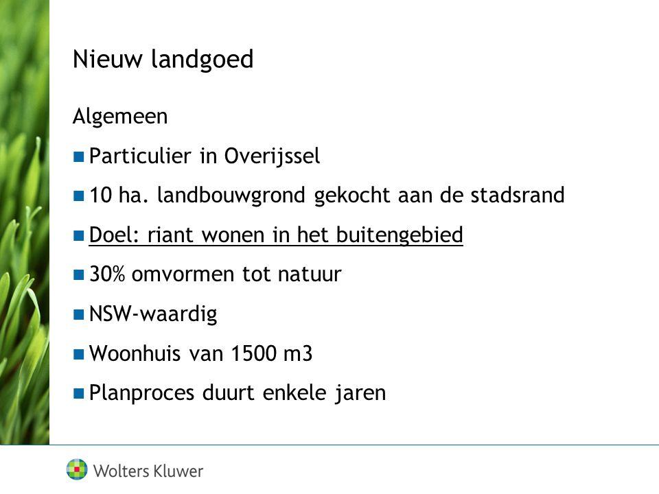 Nieuw landgoed Algemeen Particulier in Overijssel 10 ha. landbouwgrond gekocht aan de stadsrand Doel: riant wonen in het buitengebied 30% omvormen tot