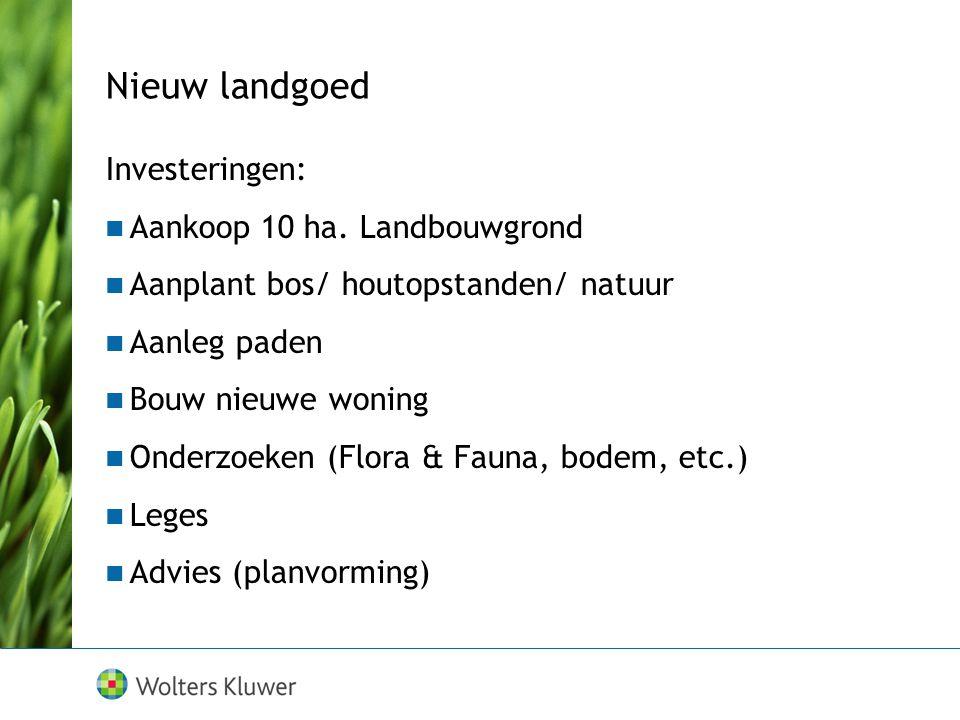 Nieuw landgoed Investeringen: Aankoop 10 ha. Landbouwgrond Aanplant bos/ houtopstanden/ natuur Aanleg paden Bouw nieuwe woning Onderzoeken (Flora & Fa