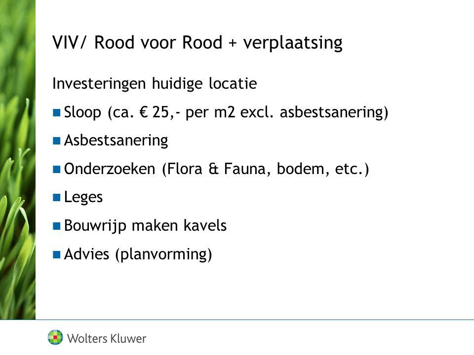 VIV/ Rood voor Rood + verplaatsing Investeringen huidige locatie Sloop (ca. € 25,- per m2 excl. asbestsanering) Asbestsanering Onderzoeken (Flora & Fa
