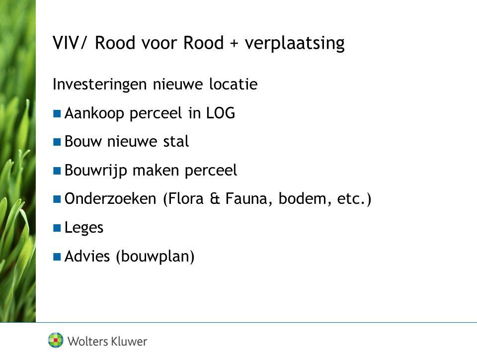 VIV/ Rood voor Rood + verplaatsing Investeringen nieuwe locatie Aankoop perceel in LOG Bouw nieuwe stal Bouwrijp maken perceel Onderzoeken (Flora & Fauna, bodem, etc.) Leges Advies (bouwplan)