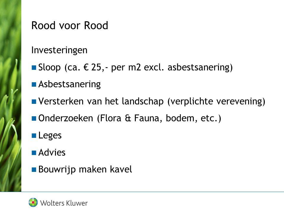 Rood voor Rood Investeringen Sloop (ca. € 25,- per m2 excl. asbestsanering) Asbestsanering Versterken van het landschap (verplichte verevening) Onderz