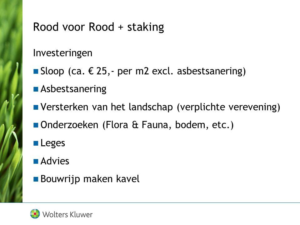 Rood voor Rood + staking Investeringen Sloop (ca. € 25,- per m2 excl. asbestsanering) Asbestsanering Versterken van het landschap (verplichte vereveni