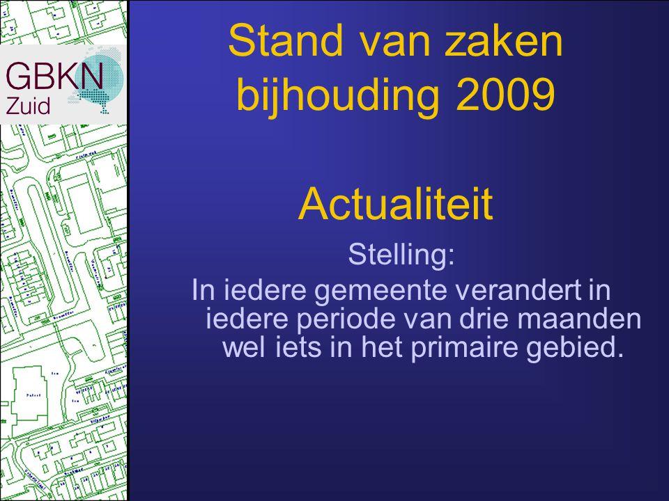 Stand van zaken bijhouding 2008 Leveringen Actualiteit Volledigheid