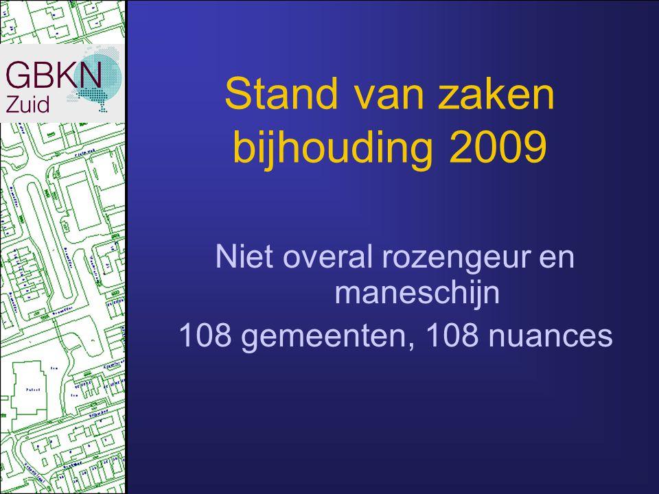 Stand van zaken bijhouding 2009 Nuances Geschiedenis nuts-GBKN Opwaardering Goede, matige en slechte MMS-melders Beschikbaarheid luchtfoto's Hardlopers (BAG, B17,B20) en Langzaamaan gemeenten 108 gemeenten, 108 nuances