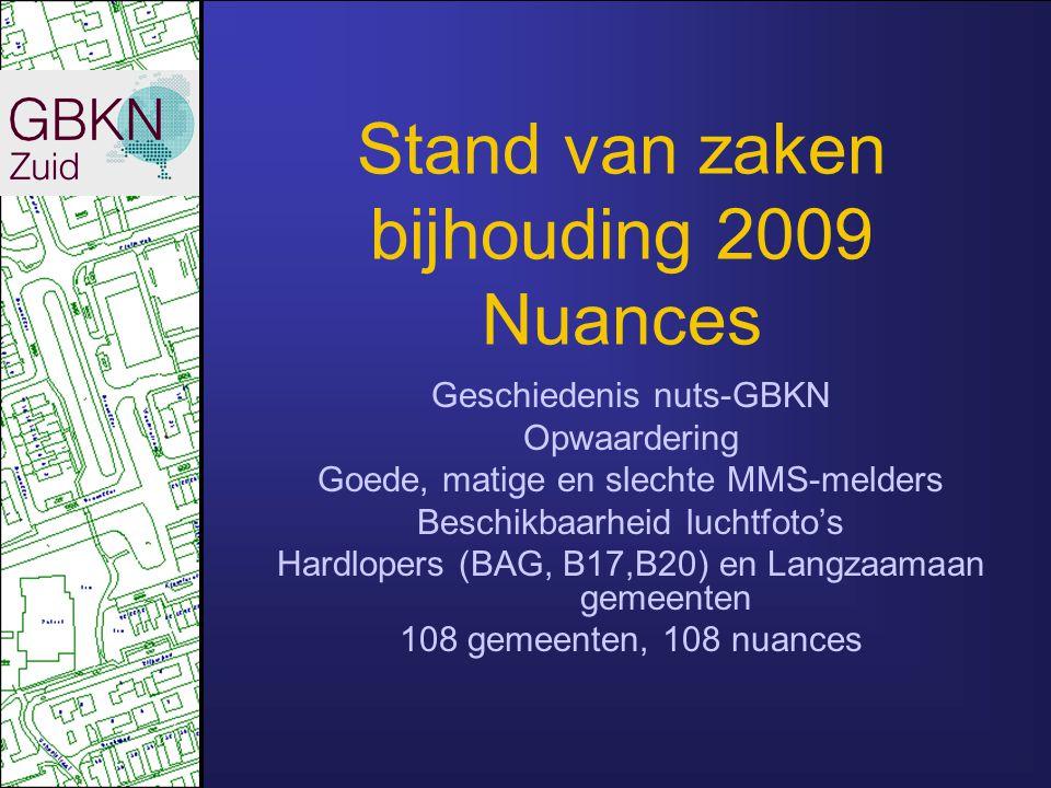 Stand van zaken bijhouding 2008 Volledigheid Mutatiemeldingen en beschikbaarheid luchtfoto's Vanaf sept/okt niet meer karteren uit 2008-beelden maar uit 2009-beelden