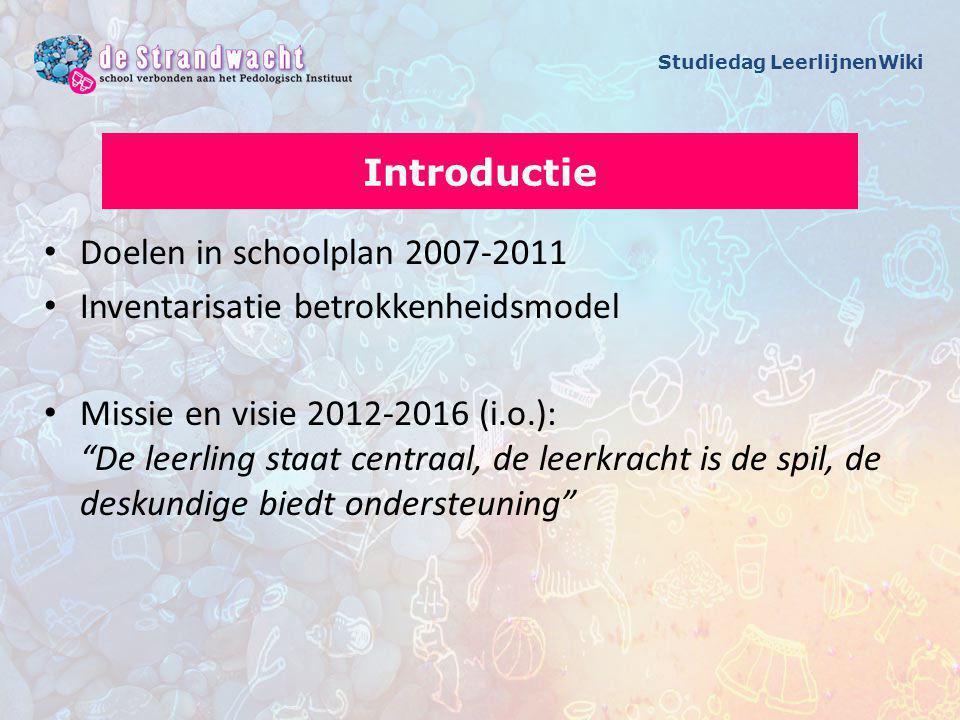 Doelen in schoolplan 2007-2011 Inventarisatie betrokkenheidsmodel Missie en visie 2012-2016 (i.o.): De leerling staat centraal, de leerkracht is de spil, de deskundige biedt ondersteuning Introductie Studiedag LeerlijnenWiki