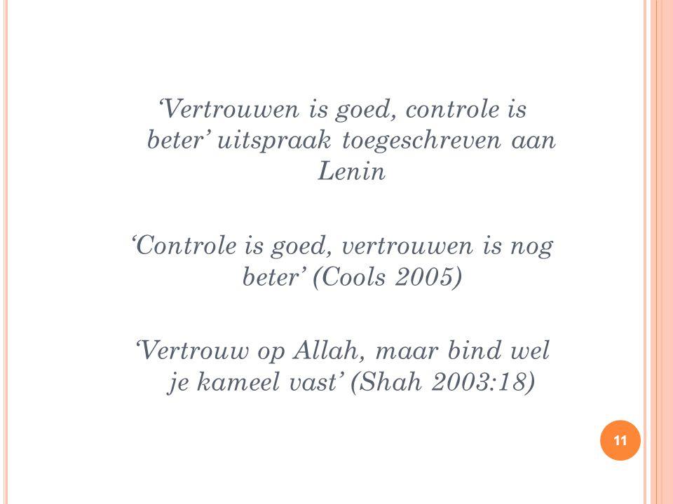 'Vertrouwen is goed, controle is beter' uitspraak toegeschreven aan Lenin 'Controle is goed, vertrouwen is nog beter' (Cools 2005) 'Vertrouw op Allah,