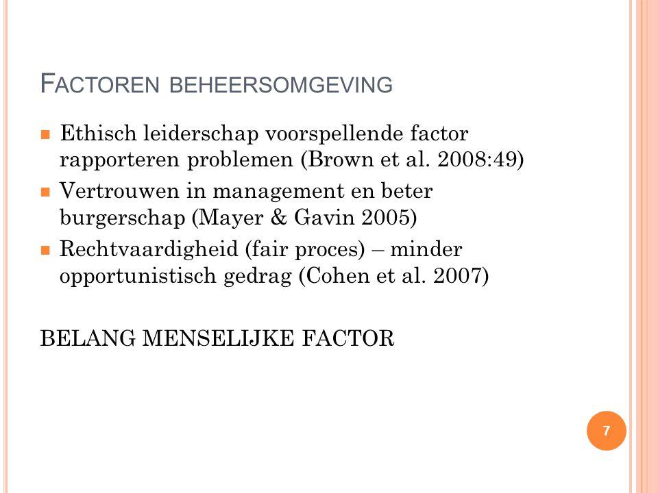 F ACTOREN BEHEERSOMGEVING Ethisch leiderschap voorspellende factor rapporteren problemen (Brown et al. 2008:49) Vertrouwen in management en beter burg
