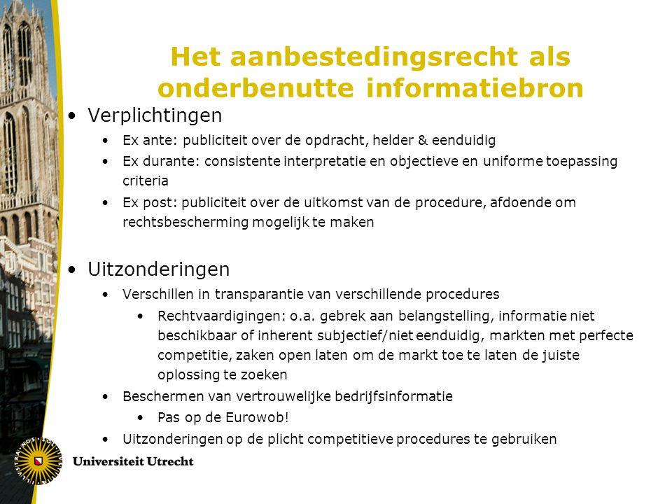 Het aanbestedingsrecht als onderbenutte informatiebron Verplichtingen Ex ante: publiciteit over de opdracht, helder & eenduidig Ex durante: consistent