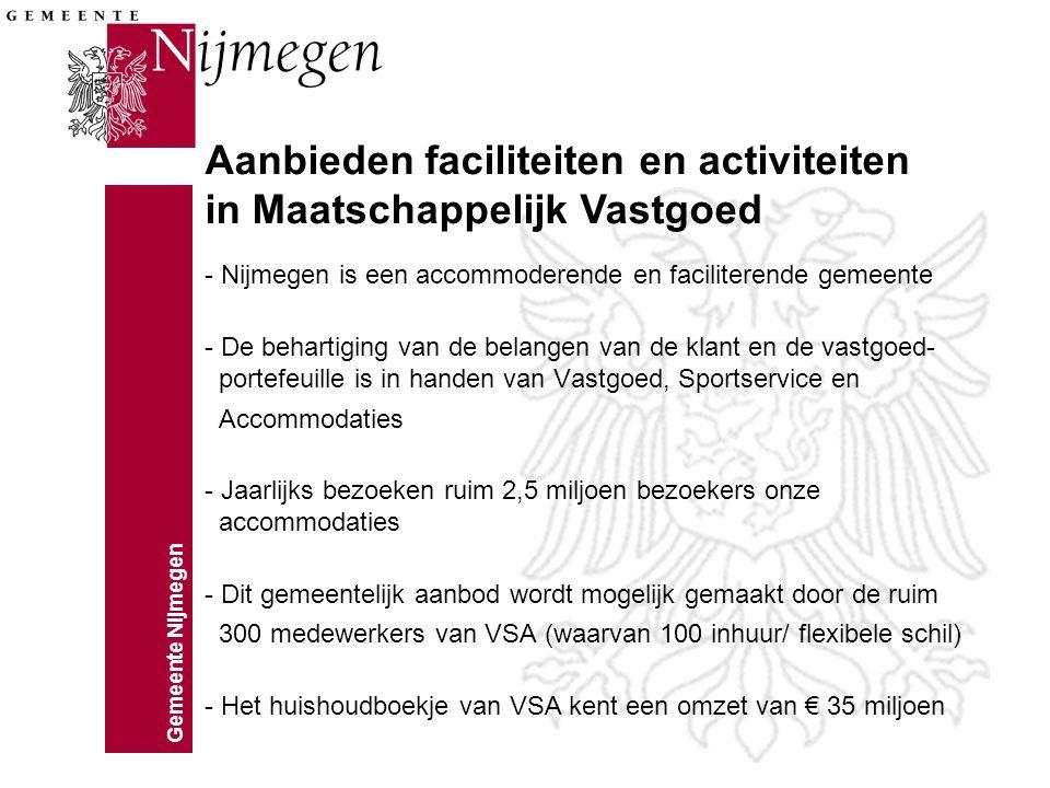 Gemeente Nijmegen - Nijmegen is een accommoderende en faciliterende gemeente - De behartiging van de belangen van de klant en de vastgoed- portefeuille is in handen van Vastgoed, Sportservice en Accommodaties - Jaarlijks bezoeken ruim 2,5 miljoen bezoekers onze accommodaties - Dit gemeentelijk aanbod wordt mogelijk gemaakt door de ruim 300 medewerkers van VSA (waarvan 100 inhuur/ flexibele schil) - Het huishoudboekje van VSA kent een omzet van € 35 miljoen Aanbieden faciliteiten en activiteiten in Maatschappelijk Vastgoed