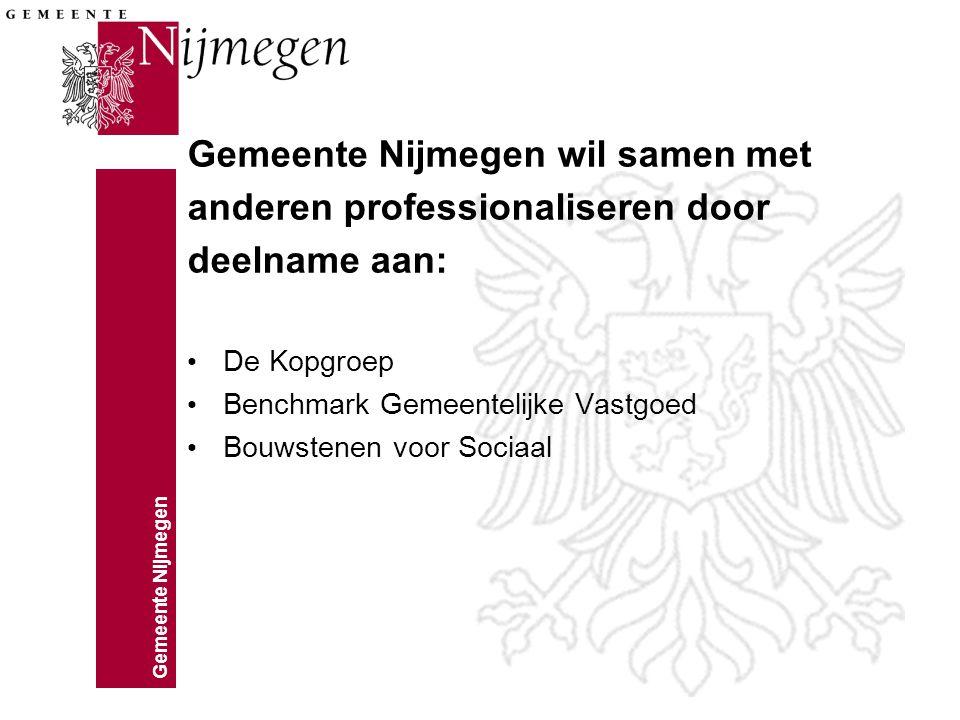 Gemeente Nijmegen Gemeente Nijmegen wil samen met anderen professionaliseren door deelname aan: De Kopgroep Benchmark Gemeentelijke Vastgoed Bouwstenen voor Sociaal