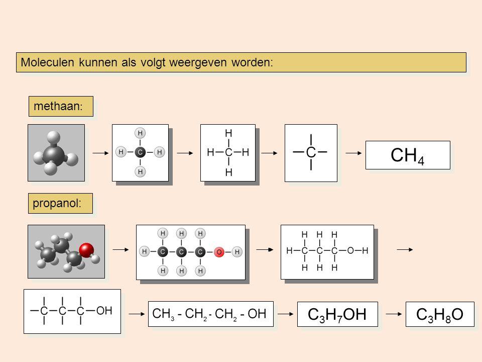 Moleculen kunnen als volgt weergeven worden: CH 4 C3H8OC3H8O C3H8OC3H8O methaan : propanol: C 3 H 7 OH