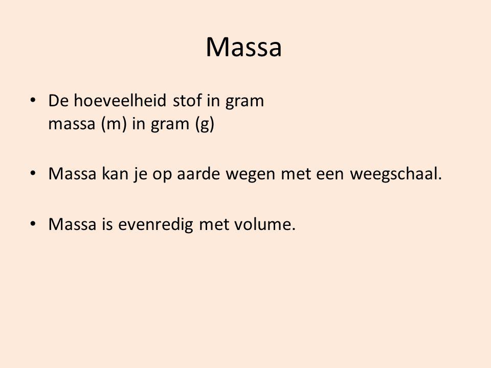 Massa De hoeveelheid stof in gram massa (m) in gram (g) Massa kan je op aarde wegen met een weegschaal.